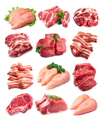 Set of meat on white backgrounds - PhotoDune Item for Sale
