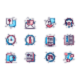 Customer Support Line Icons Set - GraphicRiver Item for Sale