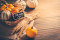 Thanksgiving - still life with pumpkins, ears and autumn leaves on wooden background - PhotoDune Item for Sale