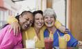 Multiracial senior women taking a selife at bar terrace - PhotoDune Item for Sale