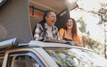 Mature multiracial friends enjoy vacation in the nautre with mini van - PhotoDune Item for Sale