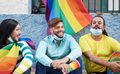 Friends enjoying the lgbt parade - Gay men and transgender wearing surgical face mask - PhotoDune Item for Sale