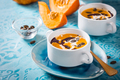 Homemade pumpkin soup with coconut milk, pumpkin oil and seeds - PhotoDune Item for Sale