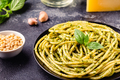 Pasta spaghetti with pesto sauce and fresh basil leaves - PhotoDune Item for Sale