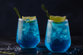 Refreshing blue drink or cocktail with ice - PhotoDune Item for Sale