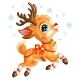 Little Cute Christmas Jumping Deer Vector - GraphicRiver Item for Sale