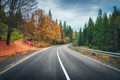Road in autumn forest. Beautiful empty mountain roadway - PhotoDune Item for Sale