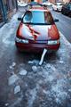 Broken windshield, car bonnet after falling a piece of ice - PhotoDune Item for Sale