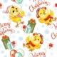 Vector Seamless Pattern with Christmas Chickens - GraphicRiver Item for Sale
