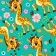 Vector Seamless Pattern with Cute Baby Giraffe - GraphicRiver Item for Sale