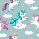 Seamless Vector Pattern Unicorns on Gray - GraphicRiver Item for Sale
