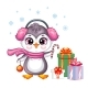 Cute Christmas Penguin Girl with Gifts Vector - GraphicRiver Item for Sale