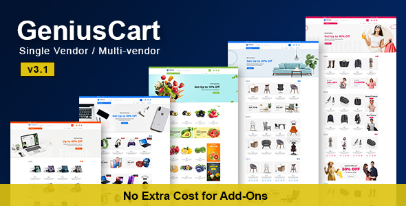 GeniusCart - Single or Multi vendor Ecommerce System with Physical and Digital Product Marketplace