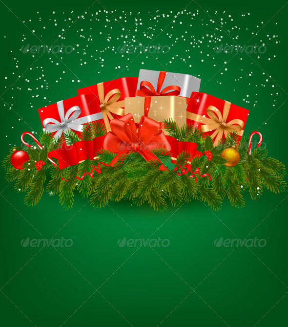 Christmas background with presents and a ribbon