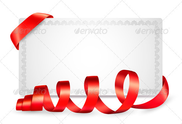 Card notes with red gift bows with ribbons