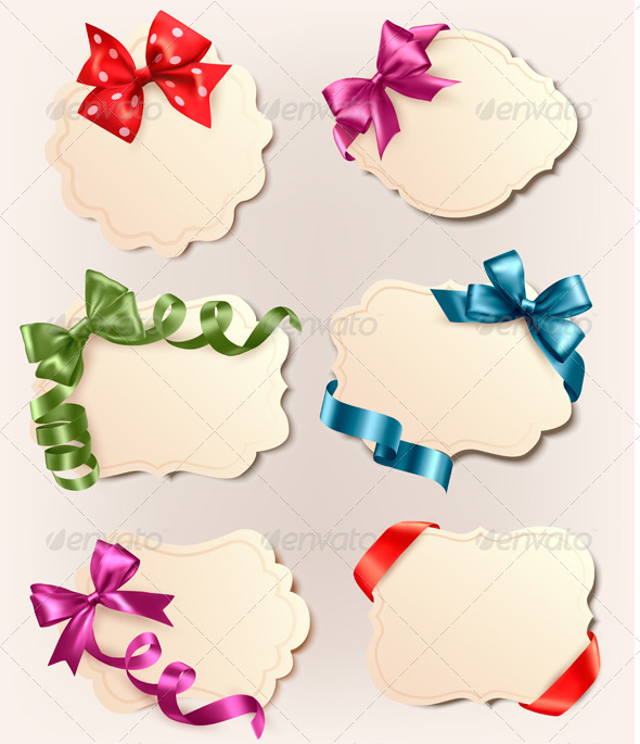 Set of Retro Labels with Red Gift Bows and Ribbons
