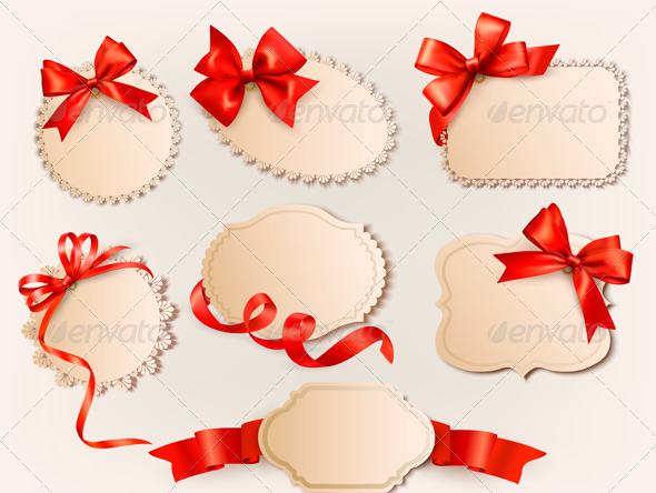 Collection of vintage labels with a red gift bows