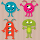 Happy monsters vector set.  - GraphicRiver Item for Sale