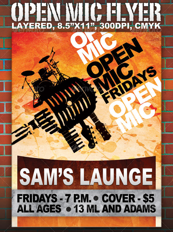 Open Mic Flyer Graphics Designs Templates From Graphicriver