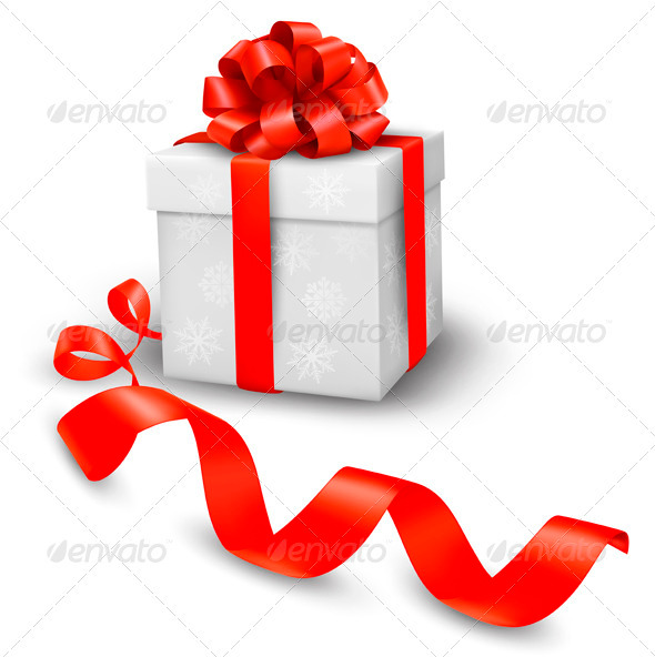 Red gift box with red ribbons