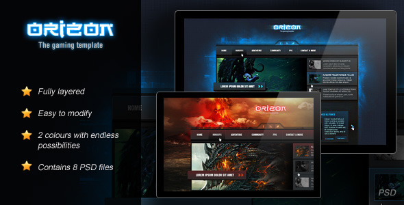 Gaming PSD Files and Photoshop Templates from ThemeForest