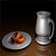 Silver cup and saucer with snacks - 3DOcean Item for Sale