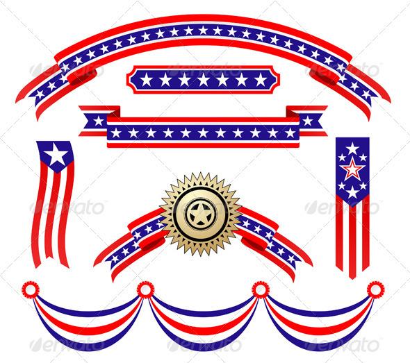 American Patriotic Ribbons Set