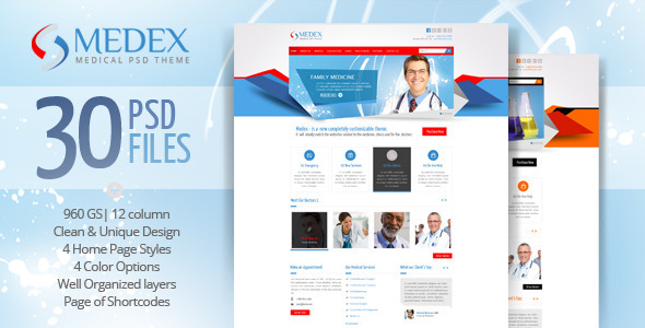 Medex - Medical, Doctor and Health care PSD Theme