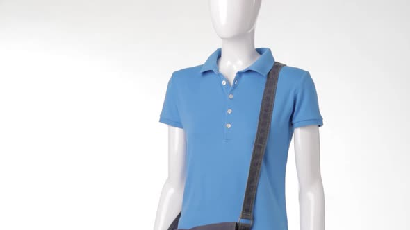 Female Mannequin Wearing Polo T-shirt.