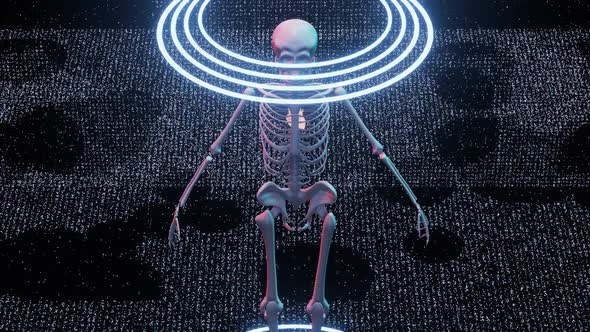 Futuristic Sci Fi Skeleton Opening His Jaw at Camera