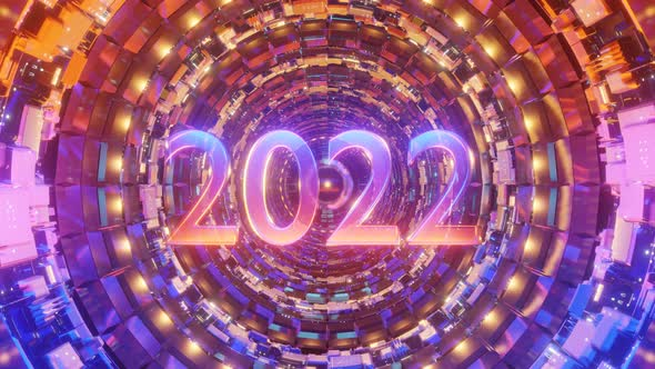 2022 Neon Sign Background New Year Concept