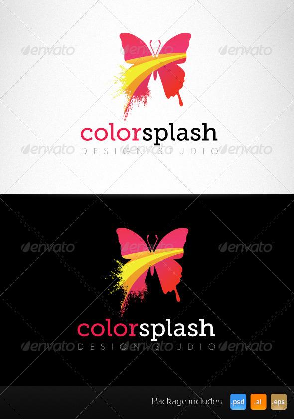 Color Splash Butterfly Creative Logo Template