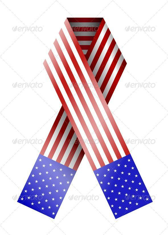 Vector 4th of July Ribbon Isolated on White