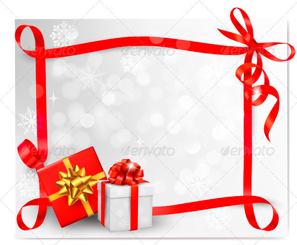 Holiday background with red gift bow and ribbons
