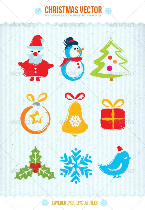 Christmas Vector Brushmade Design Elements