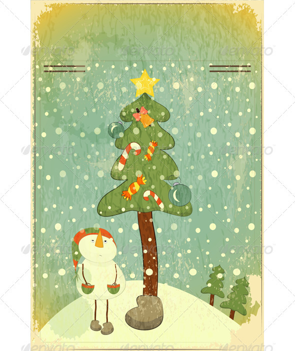 Snowman and Big Christmas Tree