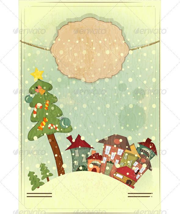 Christmas Tree and Small Houses