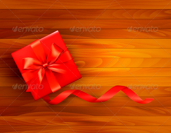 Holiday Background with Gift Box and Red Bow