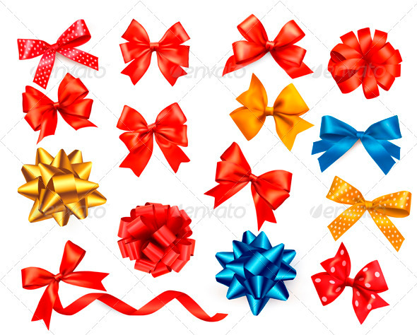 Big Set of Colour Gift Bows with Ribbons