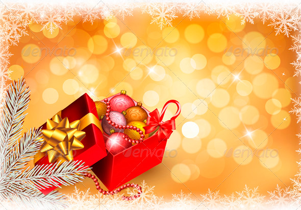 Christmas Background with Open Gift Box