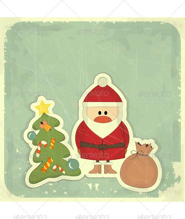 Christmas Cards with Santa, Christmas Tree