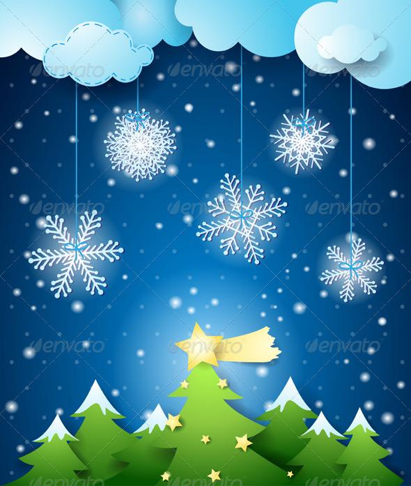 Winter Night and Christmas Tree