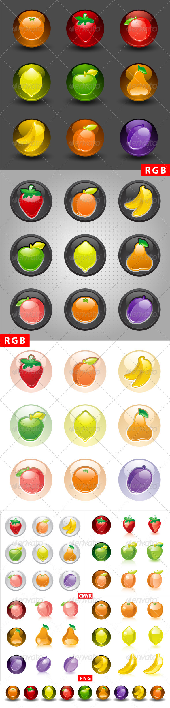 Fruit buttons, web 2.0 icons
