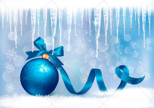 Holiday Background with Blue Gift Blue Ball