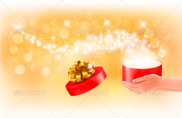 Christmas Background with Gift Magic Box