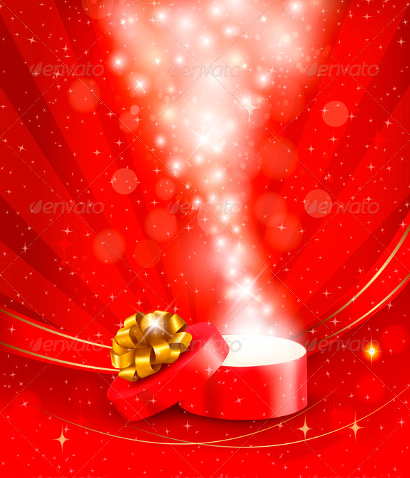 Christmas Background with Open Magic Box