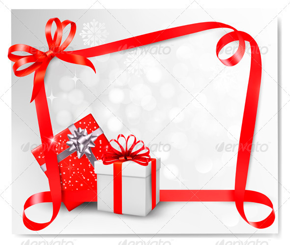Holiday Background with Red Gift Bow with Gift Box