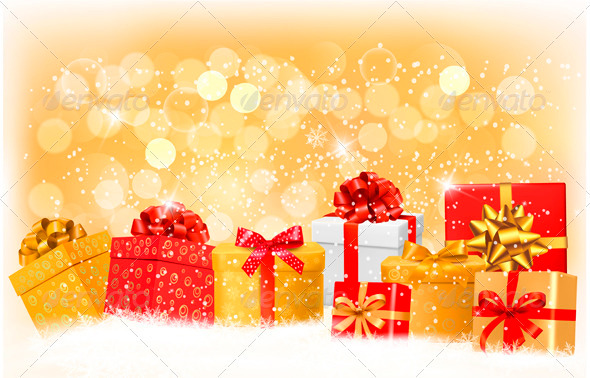 Christmas Background with Gift Boxes and Snowflake