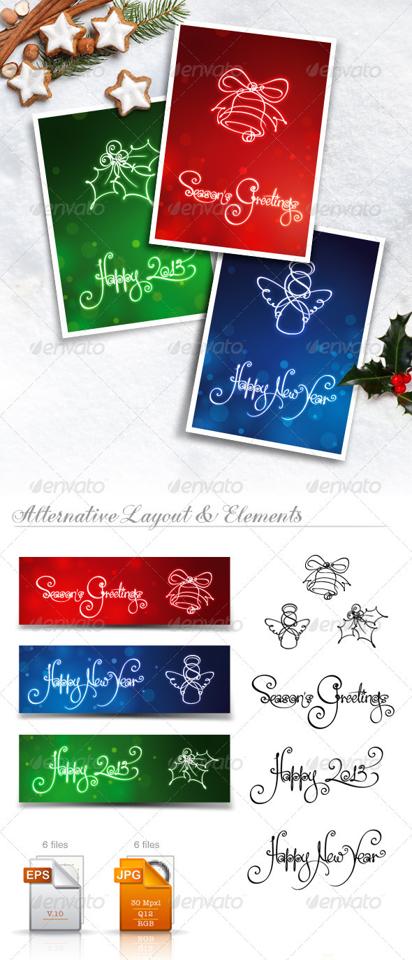 Three New Year & Christmas Cards & Banners
