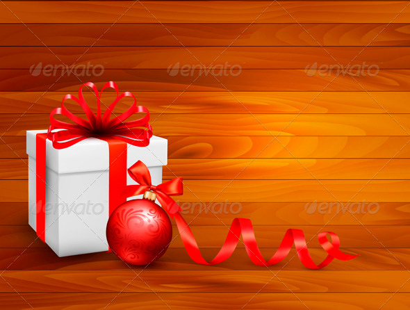 Holiday Background with Gift Box and Red Ball